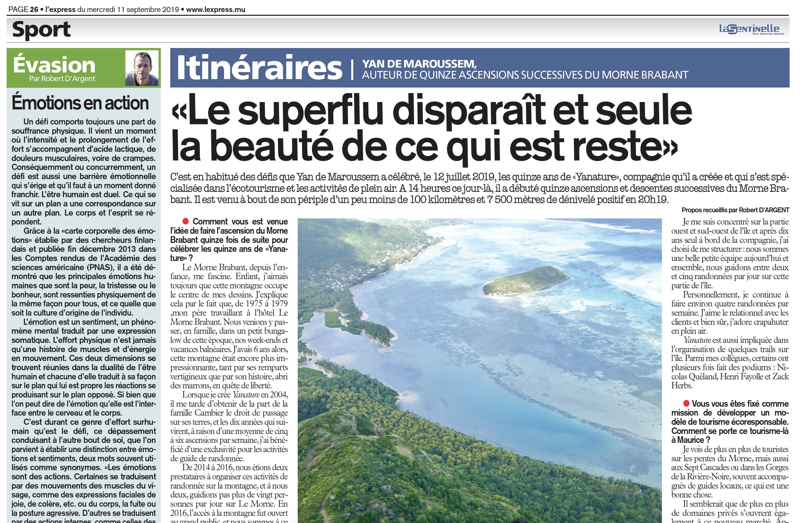 Interview From L'express about Yan de Maroussem 15 ascents of Le Morne Brabant