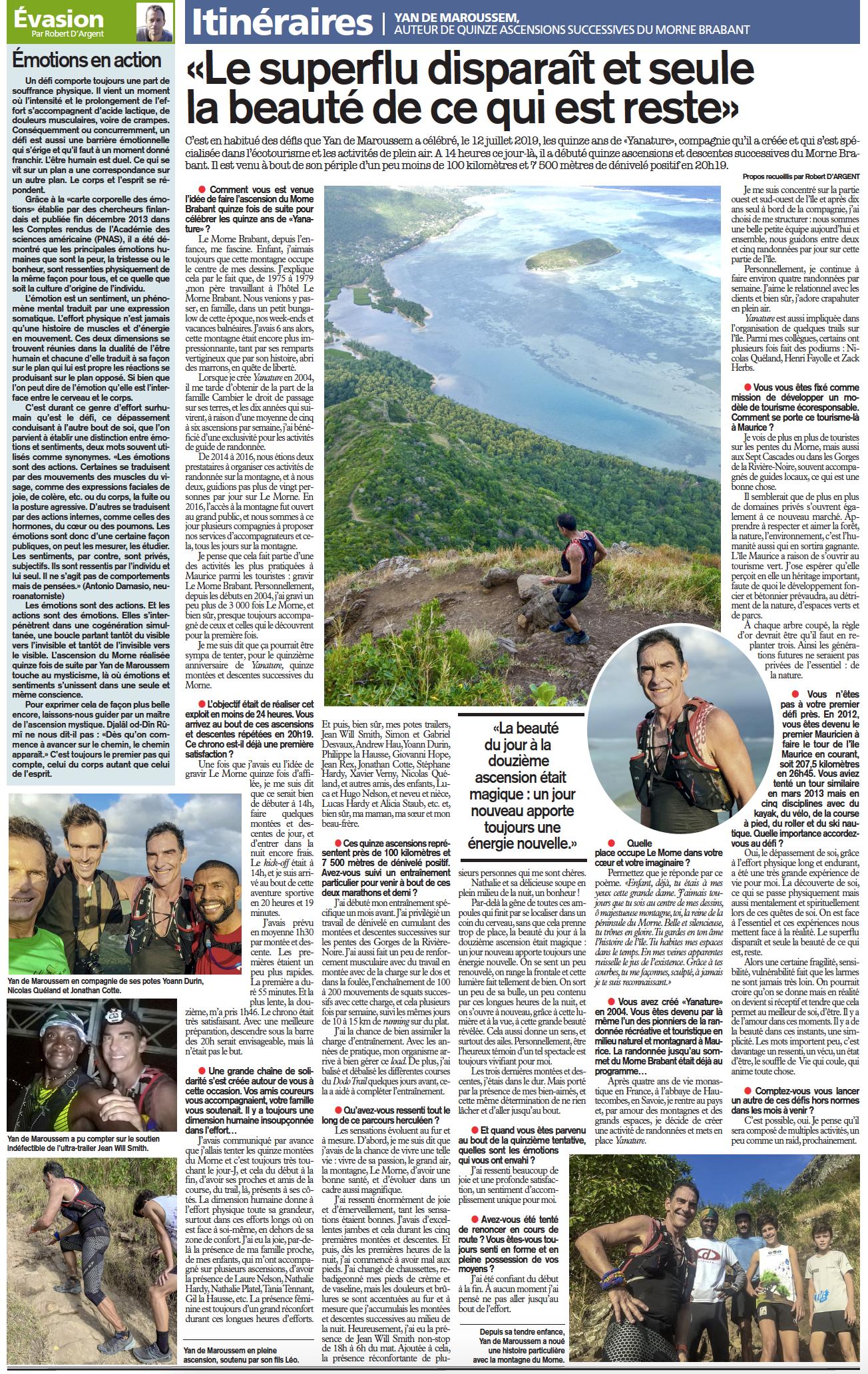 Interview From L'express about Yan de Maroussem 15 ascents of Le Morne Brabant